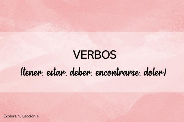 Verbos (tener, deber, estar, encontrarse, doler)